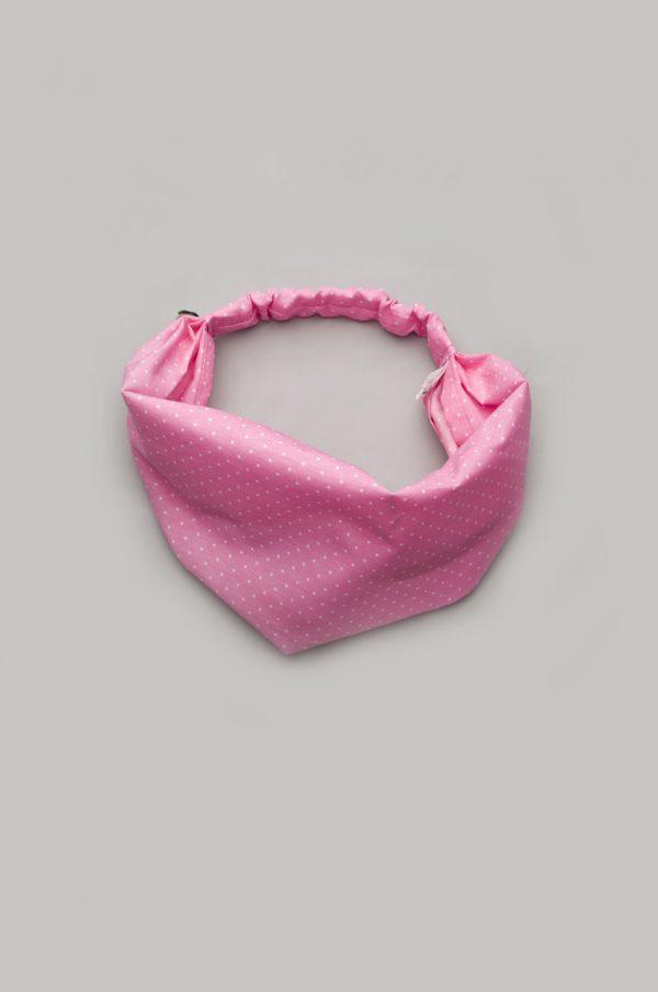 повязка на голову розовая в мелкий горошек для девочки