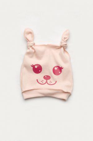 шапочка легкая трикотажная для новорожденной девочки с узелками и мордочкой
