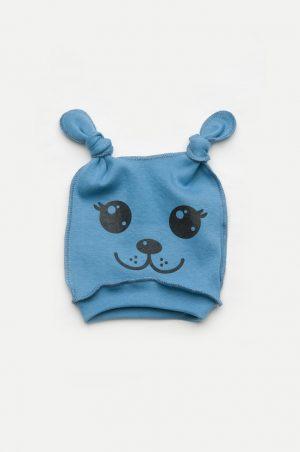 легкая шапочка с двумя узелками и мордочкой для новорожденного мальчика недорого