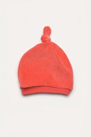 велюровая шапочка с узелком коралл розовая недорого