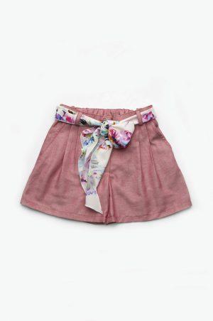 легкие джинсовые шорты с поясом из шифона для девочек