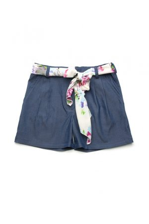 купить шорты джинсовые с шифоновым поясом для девочки недорого