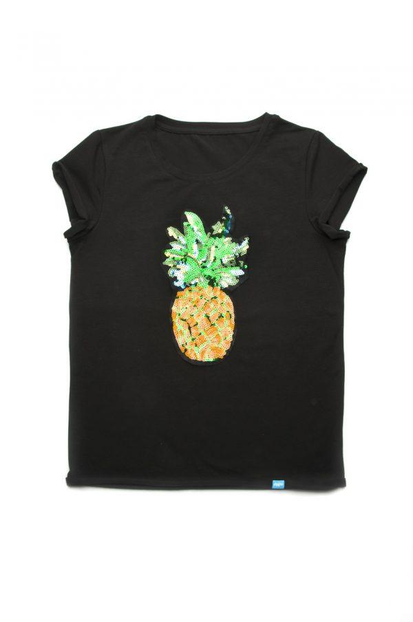 недорогая женская футболка черная с пайетками