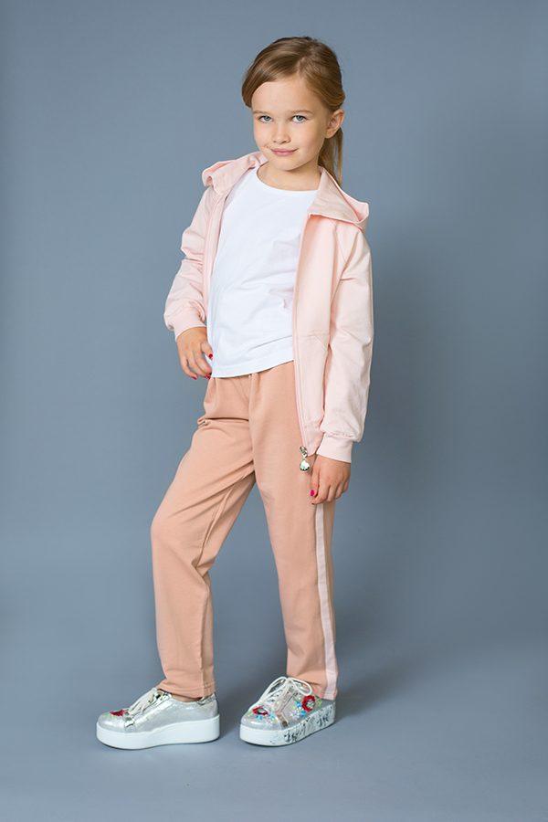брюки с лампасами кофта на молнии с капюшоном купить для девочки