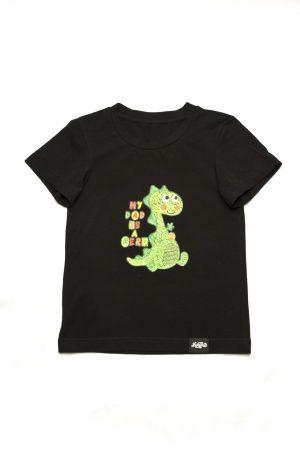 черная футболка для мальчика с динозавром недорого Харьков Киев Днепр