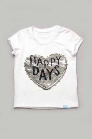 футболка для девочки с декором сердце купить с доставкой