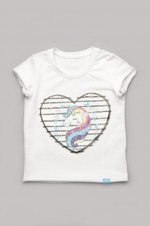 недорогая футболка для девочки с двусторонними пайетками