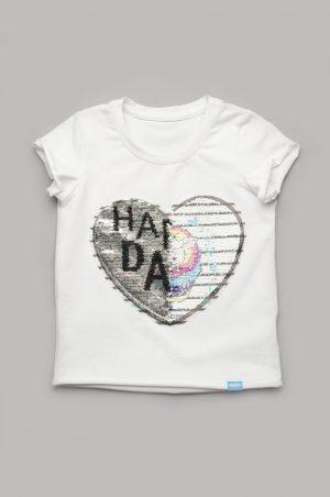 купить оригинальная футболка для девочки с пайетками 2 рисунка