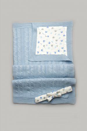 вязанный плед с хлопковой подкладкой для новорожденного конверт