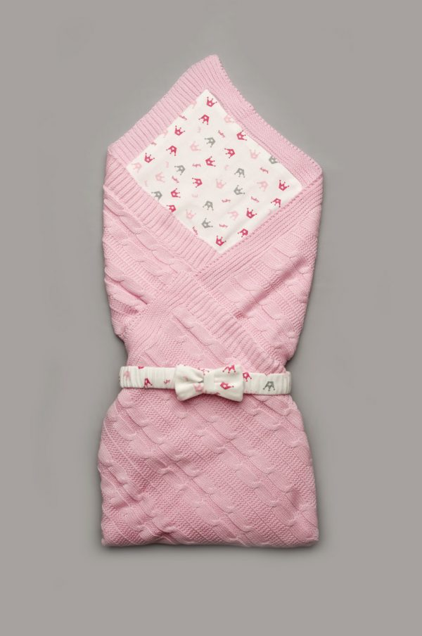 плед вязанный с хлопковой подкладкой конверт для новорожденной