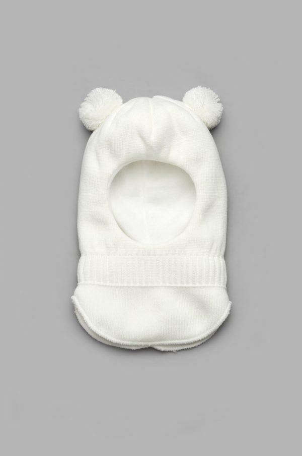 шапка шлем деми с помпонами для девочки недорого
