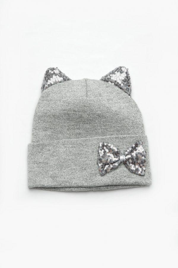 трикотажная шапка с пайетками для девочки