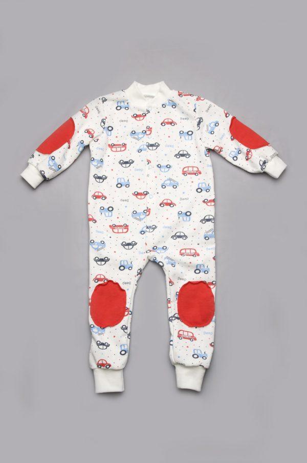 недорогая пижама комбинезон для мальчика машинки