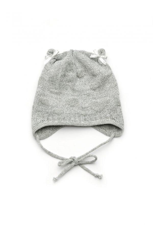 шапка деми для девочки на завязках недорого