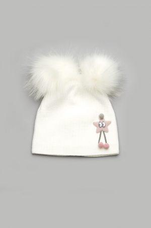недорогая зимняя шапка с помпонами для девочки Днепр