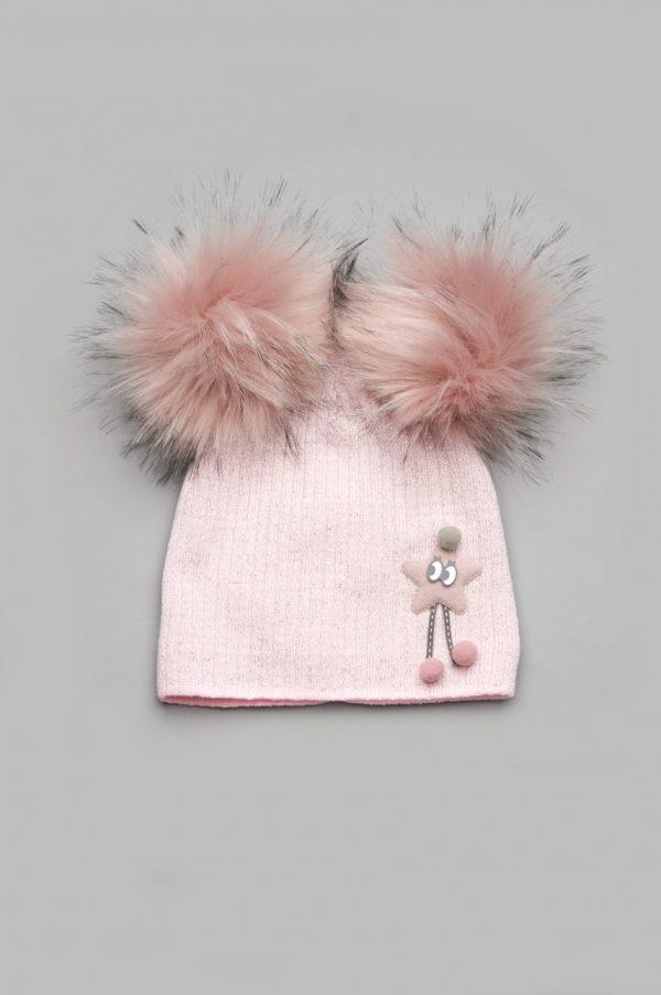 шапка зимняя с помпонами для девочки купить