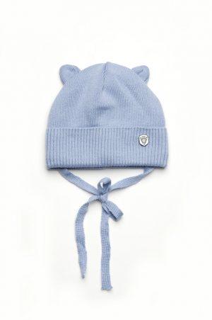 недорогая шапка деми с ушками на завязках для мальчика